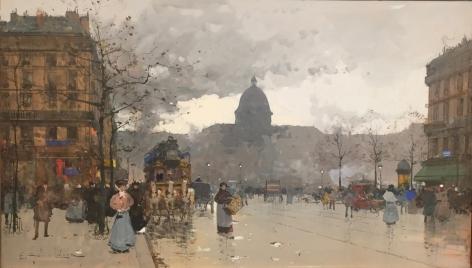 EUGENE GALIEN-LALOUE (1854-1941) Boulevard Henri IV Gouache on paper, 7 x 12.5 inches
