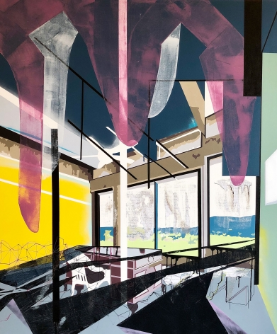 EMILIE DUVAL | REFLECTIVE TRAP | ACRYLIC, INK, MARKER AND SPRAY PAINT ON CANVAS | 60X 50INCHES | 2019