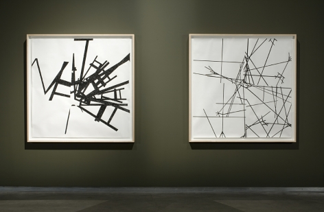 MICHAELA. ROBINSON | REFRACTOR AND DYSFORM | LETRASET ON PAPER (FRAMED) | 52 X 52 INCHES EACH | 2009,