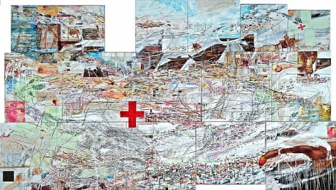 AMY SCHISSEL | IUNCTIO | MULTIMEDIA ON WOOD | 109 X 59 INCHES | 2008