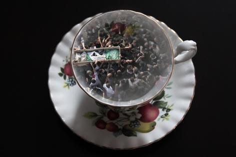 CHERYL PAGUREK   FLUTED TEA CUP / GAZA CITY  DIGITAL PRINT ON PHOTO PAPER   17 X 25.5 INCHES   2016