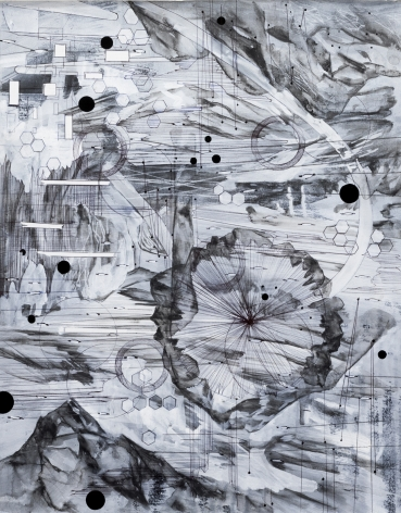 AMY SCHISSEL | POST DIGITAL LANDSCAPES SERIES #8| ACRYLIC, GRAPHITE, CHARCOAL AND INK ON PAPER | 22,5 X 18 INCHES | 2017,