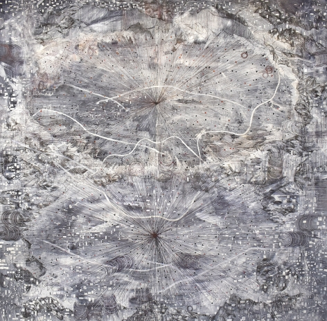 AMY SCHISSEL   OUTLIERS   ACRYLIC, GRAPHITE, CHARCOAL AND INK ON PAPER   98 X 98 INCHES   2020