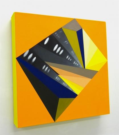 JANET JONES   HYPNO-MERGE INTO DAZZLE DAYS #9  HUILE ET ACRYLIQUE SUR TOILE   18 X 18 POUCES   2012