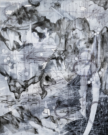 AMY SCHISSEL | POST DIGITAL LANDSCAPES SERIES #7| ACRYLIC, GRAPHITE, CHARCOAL AND INK ON PAPER | 22,5 X 18 INCHES | 2017