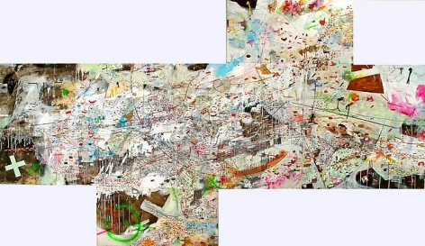 AMY SCHISSEL | PROLIX X | MULTIMEDIA ON WOOD | 192 X 96 INCHES | 2008