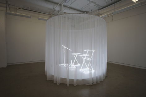 MICHAELA. ROBINSON |E.T.Y.N.T.G.S. (EVERYTHING YOU NEED TO GET STARTED) |SUPPORT FIXTURE,LED LIGHTS, TRANSPARENT CURTAIN, WOODEN STAGE | 100.8 X 114 INCHES | INSTALLATION VIEW | DIAGONALE | MONTREAL | 2018