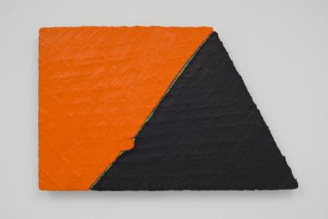 PAUL BUREAU | OUT OF SHAPE (BLACK/ORANGE) | OIL PAINT AND OIL PASTEL ON CANVAS | 26 X 41 INCHES | 2014