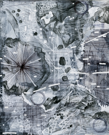 AMY SCHISSEL | POST DIGITAL LANDSCAPES SERIES #6| ACRYLIC, GRAPHITE, CHARCOAL AND INK ON PAPER | 22,5 X 18 INCHES | 2017