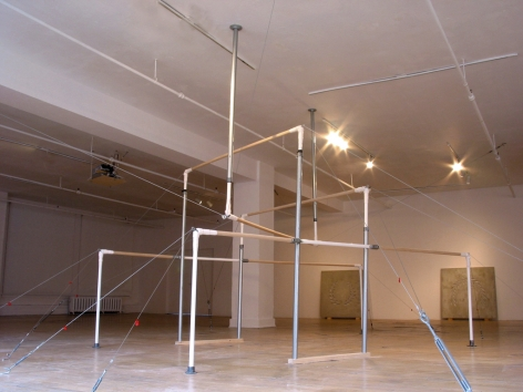 MICHAELA. ROBINSON | EQUAL TO MY OWNEQUATION | WOOD, STEEL, SUSPENSION CABLES, VINYL | VARIABLE DIMENSIONS | 2006,