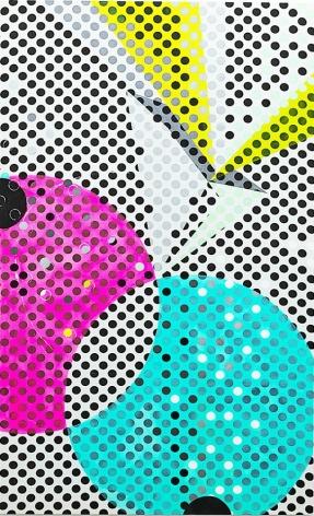 JANET JONES   DREAM MACHINE  ACRYLIQUE ETGOUACHE SUR TOILE IMPRIMÉE  78 X 48 POUCES   2017,