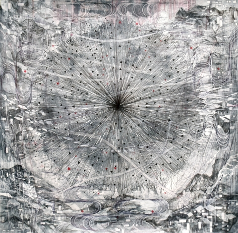 AMY SCHISSEL | CHANNEL| ACRYLIC, GRAPHITE, CHARCOAL AND INK ON PAPER | 32X 32INCHES | 2020,