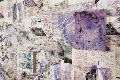 AMY SCHISSEL | DOUBLE STANDARD 2 (DETAIL)|PAINTING, ACRYLIC, OIL, GESSO, GRAPHITE, INK ON PAPER ON BOARD|INSTALLATION VIEW AT VOLTA NY| 10 X 10 FEET | 2016
