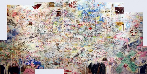 AMY SCHISSEL | SUBIUNGIO | MULTIMEDIA ON WOOD | 124 X 84 INCHES | 2009