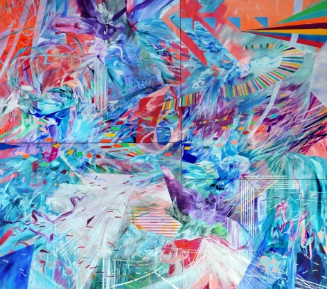 AMY SCHISSEL | FIXED FLUIDS | ACRYLIC ON LUAN WOOD | 52X 48INCHES | 2015