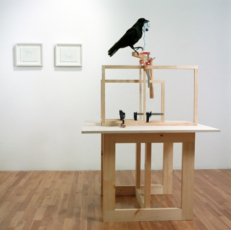 MICHAELA. ROBINSON | THEORY OF OTHER MINDS,| WOOD, CLAMPS, TAXIDERMIE CROW, BLUE BALL, BLUE STRING | 42 X 42 X 64 INCHES | 2004