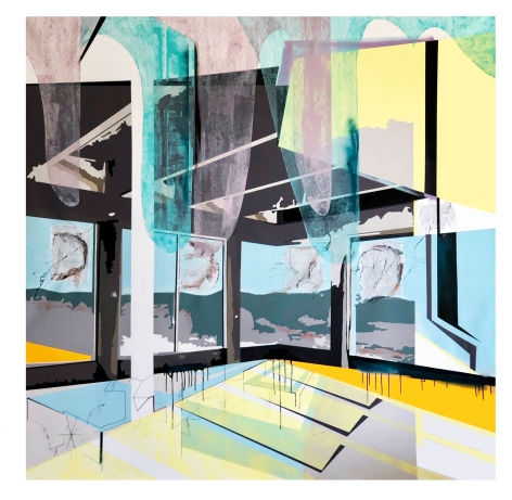 EMILIE DUVAL | SPLENDOR OF ILLUSION | ACRYLIC, INK, MARKER AND SPRAY PAINT ON CANVAS | 78 X 78 INCHES | 2019