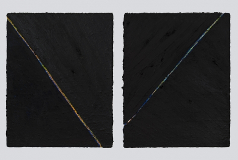 PAUL BUREAU | OUT OF SHAPE (B) (DIPTYCH) | OIL PAINT AND OIL PASTEL ON CANVAS | 28 X 22 INCHES EACH | 2015