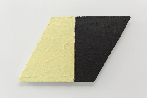 PAUL BUREAU | OUT OF SHAPE (YELLOW/BLACK) TRAPEZOID | OIL PAINT AND OIL PASTEL ON CANVAS | 24X 42INCHES | 2014
