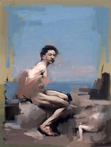 ANDREW MORROW   BATHS THERE   OIL ON PREPARED COTTON PAPER   11,4 X 8,6 INCHES   2017