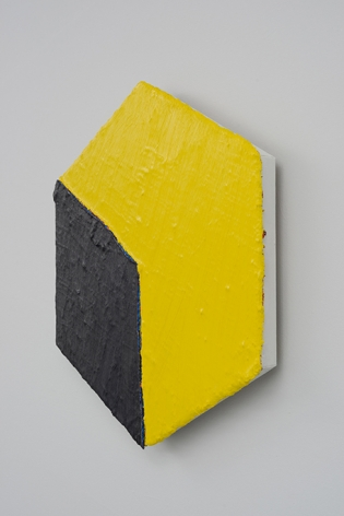 PAUL BUREAU | OUT OF SHAPE (YELLOW/BLACK) HEXAGON| OIL PAINT AND OIL PASTEL ON CANVAS | 30X 26INCHES | 2014