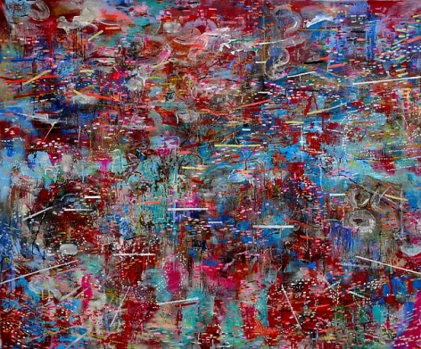 AMY SCHISSEL | OUTBREAK | MULTIMEDIA ON CANVAS | 45 X 55 INCHES | 2011