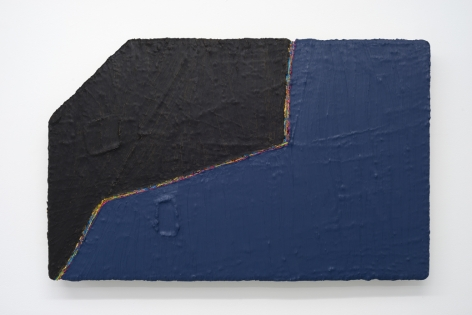 PAUL BUREAU | OUT OF SHAPE (BLACK/BLUE) | OIL PAINT AND OIL PASTEL ON CANVAS | 26 X 41 INCHES | 2014