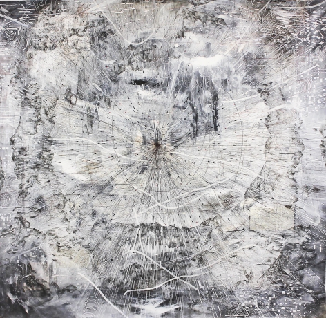 AMY SCHISSEL   AS THE CROW FLIES   ACRYLIC, GRAPHITE, CHARCOAL AND INK ON PAPER   98 X 98 INCHES   2020