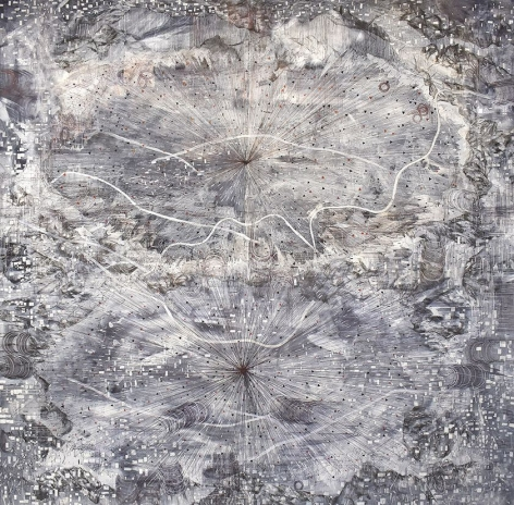 AMY SCHISSEL | OUTLIERS | ACRYLIC, GRAPHITE, CHARCOAL AND INK ON PAPER | 98 X 98 INCHES | 2020,