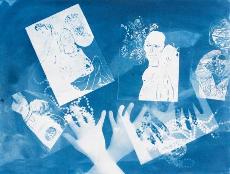 Ofri Cnaani, Blue Print (OC real and fake hands) #2, 2015