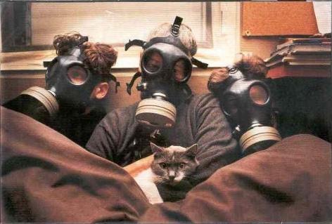 Micha Bar Am, Family Portrait with Cat, Ramat Gan, Gulf War, 1991