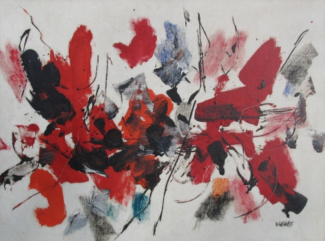 "John Von Wicht abstract oil painting titled ""Red's Moving."""