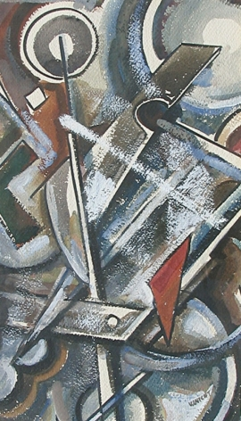"John Von Wicht abstract gouache painting titled ""Conflict""."