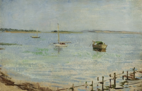 Henry Prellwitz, Boats in the Bay with Pier