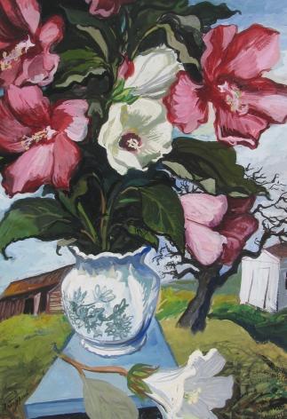 Gregorio Prestopino, Peonies in a Rural Landscape