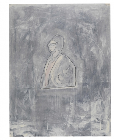 Oum Kalsoum, 1981, Graphite and oil-based enamel on paper