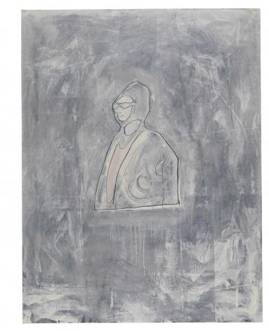 Oum Kalsoum, 1981, Graphite and oil-based enamel on paper