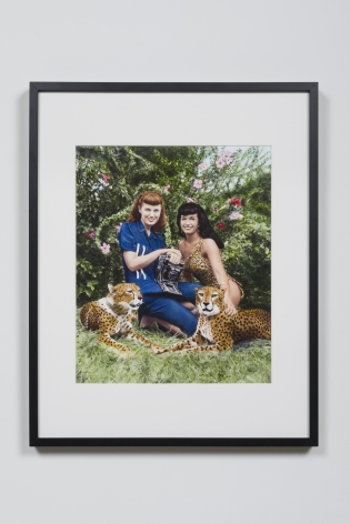Bunny with Bettie Page and Cheetahs at Africa, USA - Boca Raton, FL, 1954
