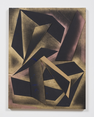 Untitled (blk.ppr.gld.spry.crdbrd.shps.), 2016, Gouache, graphite, spray paint, glue, paper, cardboard, aluminum and wood panel