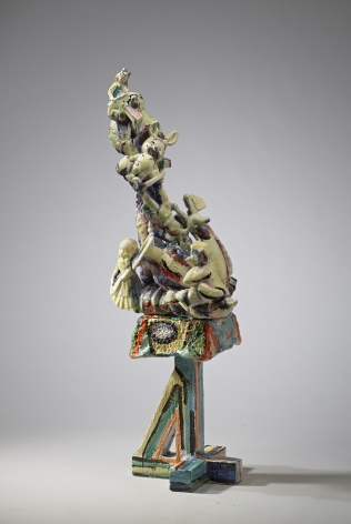 Viola Frey Untitled (Bricolage with Head on Pedestal and Bunny), 1982-1987