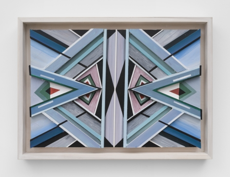 Karen Carson, Blue Triangles, 2020. Acrylic on bas relief wood. 21.5 x 29.5 x 3 in.