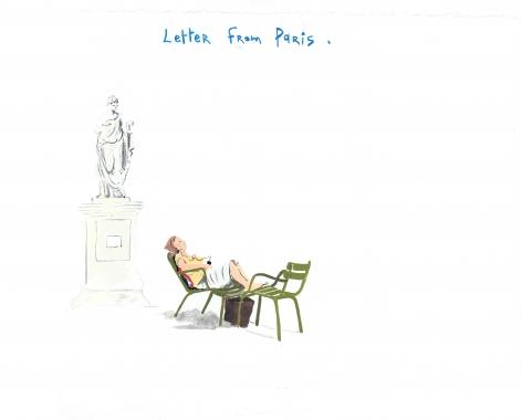 Jardin des Tuileries, 2014, Gouache on paper