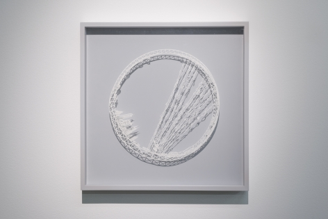 Ring - The Rain Collector, 2015, Cut paper, Chinese xuan (rice) paper on silk