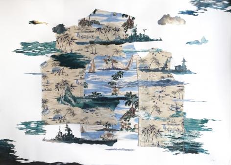 Joiri Minaya Untitled (US Navy Boats on found tropical pattern shirts), 2021