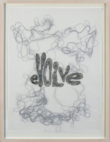 Evolve, 2016, Glass beads and thread on vellum