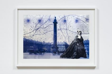 La Comtesse de Castiglione Would Wander II (La Comtesse Place Vendome), 2009, Archival printed acetate, colored light gel and gold foil on plexi glass