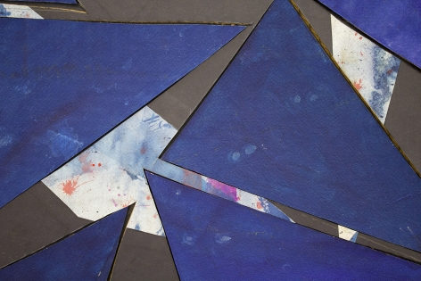 Detail ofUntitled (bl.ppr.crdbrd.bl.trngls.bl.frm.), 2016, Gouache, graphite, glue, paper, cardboard, aluminum and wood panel