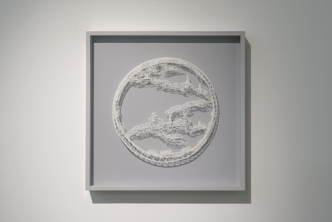 Ring - The Fog Lifter, 2015, Cut paper, Chinese xuan (rice) paper on silk
