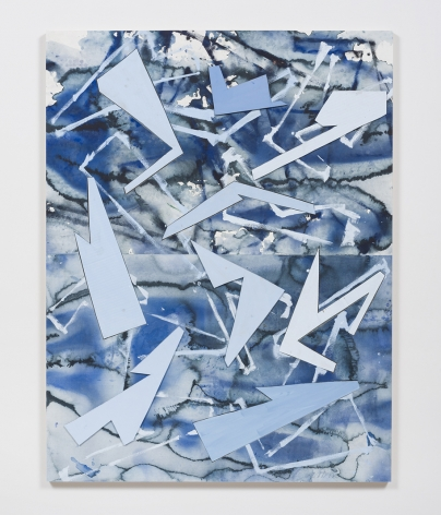 Untitled (lt.bl.flr.ppr.lt.bl.crdbrd.shps.), 2016, Gouache, graphite, glue, paper, cardboard, aluminum and wood panel