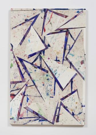 Untitled (flr.ppr.trngls.bl.lns.crdbrd.), 2016, Gouache, acrylic, graphite, glue, paper, cardboard, aluminum and wood panel